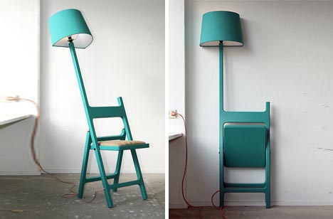 Folding Chair + Floor Lamp Design Fusion