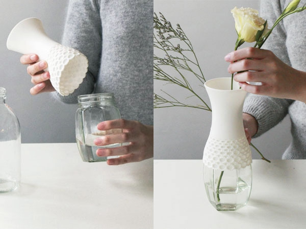 Lace vase,new way to reuse