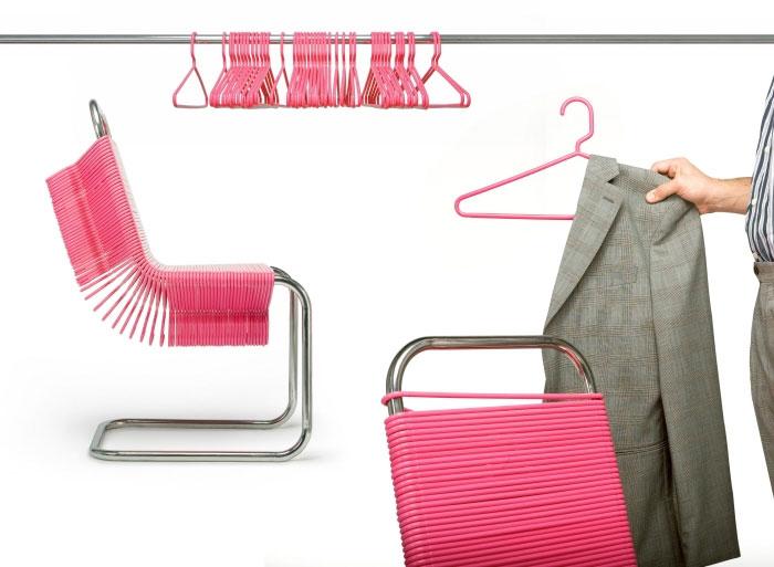 Chairs Made from Plastic Coat Hangers เก้าอี้ไม้แขวน