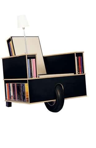 เก้าอี้ที่เก็บหนังสือ ..แถมติดล้อเคลื่อนย้ายสะดวก