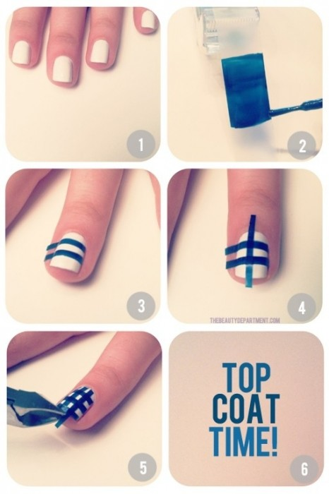 12 Amazing DIY Nail Art Designs Using Scotch Tape เล็บสวย12 วิธีด้วยสก็อตเทป 13 - Nail Art Designs