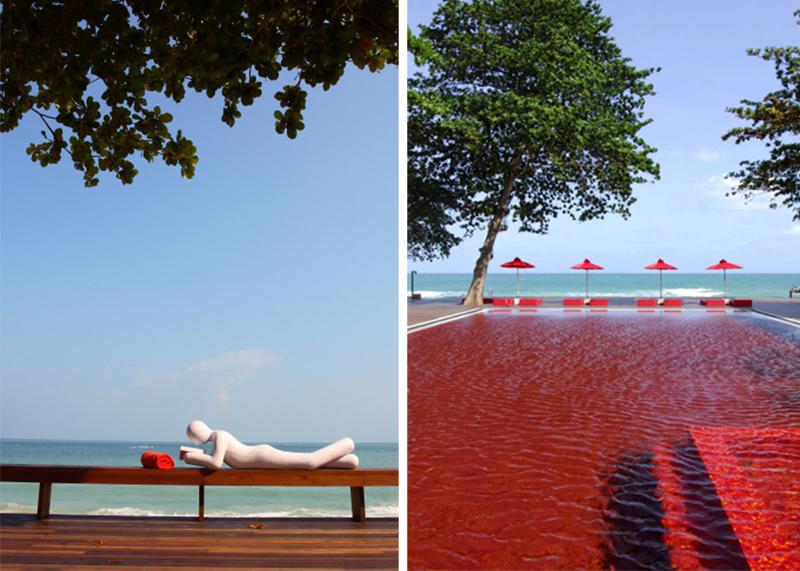 "THE LIBRARY ""เดอะ ไลบรารี่"" เกาะสมุย กับสระว่ายน้ำสีแดงแปลกตาที่เปิดโล่งให้เห็นวิวทะเล และผู้รักการอ่านหนังสือ 2 -"
