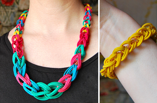 DIY.Rubber Band Chain Necklace&Bracelet  13 - bracelet