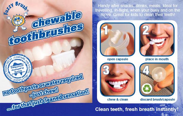 แปรงสีฟันเคี้ยวได้ (ไม่ต้องใช้น้ำ) Fuzzy Brushes  13 - Fuzzy Brushes