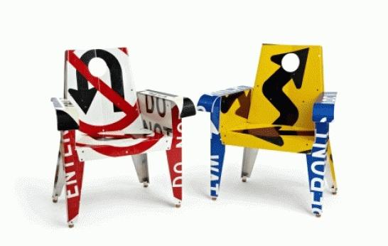 จากป้ายจราจรมาเป็นเฟอร์นิเจอร์สุดแนว... Upcycled Furniture By Boris Bally 2 - Boris Bally