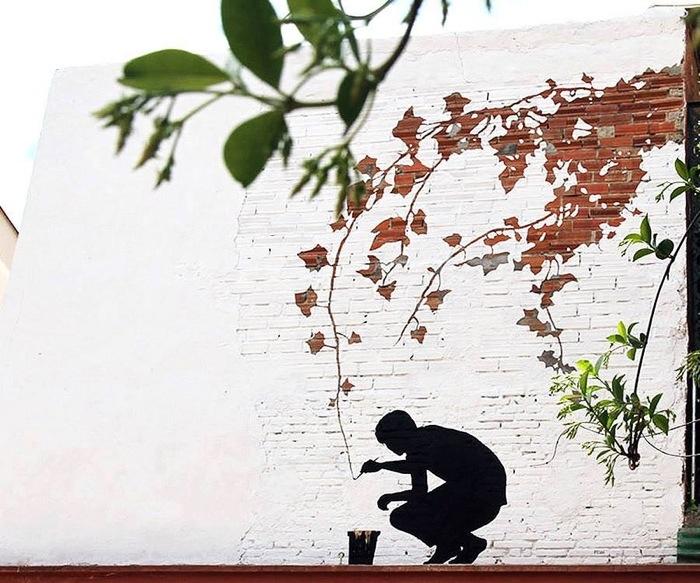 ภาพวาดจากลอยแตกบนกำแพง..Subtractive Street Art โดย Pejac 13 - street art