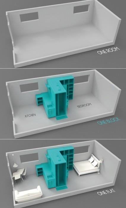 Cook&Bath..กั้นห้องด้วยเฟอร์นิเจอร์สำเร็จรูป ที่เป็นห้องน้ำและครัวไปด้วย 2 -
