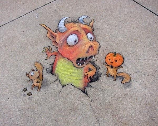 ภาพสีชอล์คอารมณ์ดี..ศิลปะข้างถนน โดย David Zinn 13 - chalk art