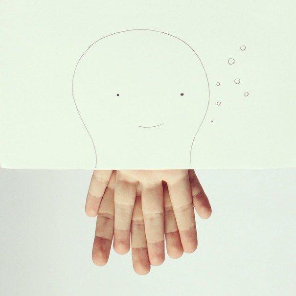 เมื่อศิลปินอารมณ์ดี สร้างภาพลายเส้นง่ายๆ กับนิ้วมือของเขาเอง 2 - Artist