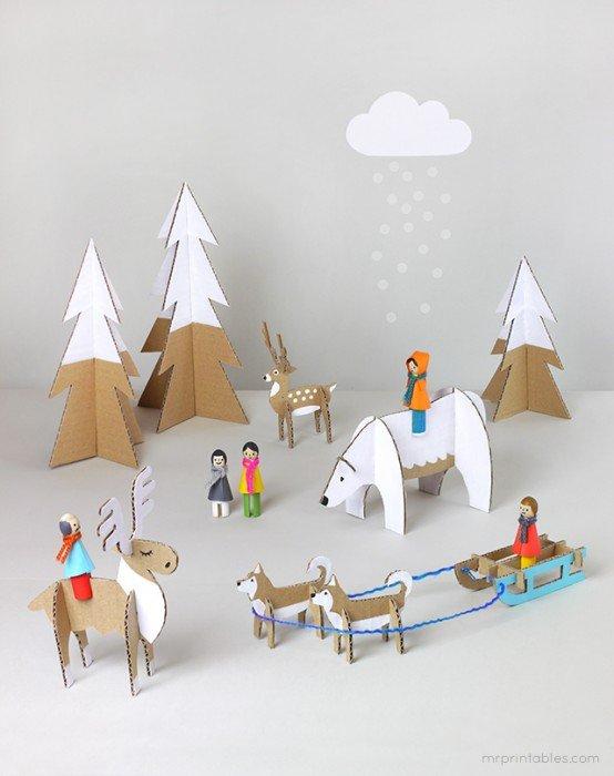 DIY: สวนหรรษาในวันคริสต์มาส Peg dolls Winter Wonderland on Christmas's Day 13 - christmas
