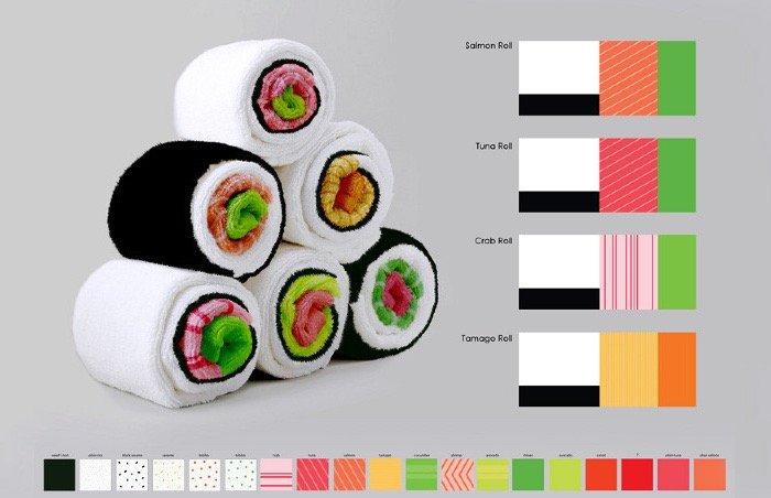 เมื่อผ้าใช้ในครัวกลายเป็นอาหารน่าทาน Sushi Rolls 2 - Gift