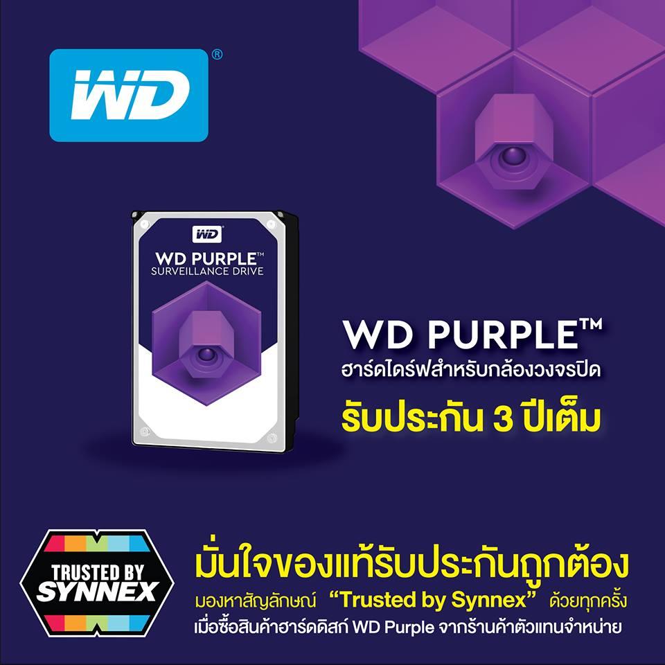 """มั่นใจของแท้ รับประกันถูกต้อง มองหาสัญลักษณ์ """"Trusted by Synnex"""" ทุกครั้งที่ซื้อสินค้าฮาร์ดดิสก์ WD Purple สำหรับงานกล้องวงจรปิด 2 -"""