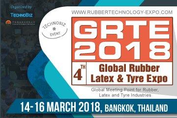 """งานแสดงสินค้าด้านยาง น้ำยาง และยางล้อ ครั้งที่ 4 """"GRTE 2018"""" วันที่ 14-16 มีนาคม 2561 ณ ไบเทค 2 -"""