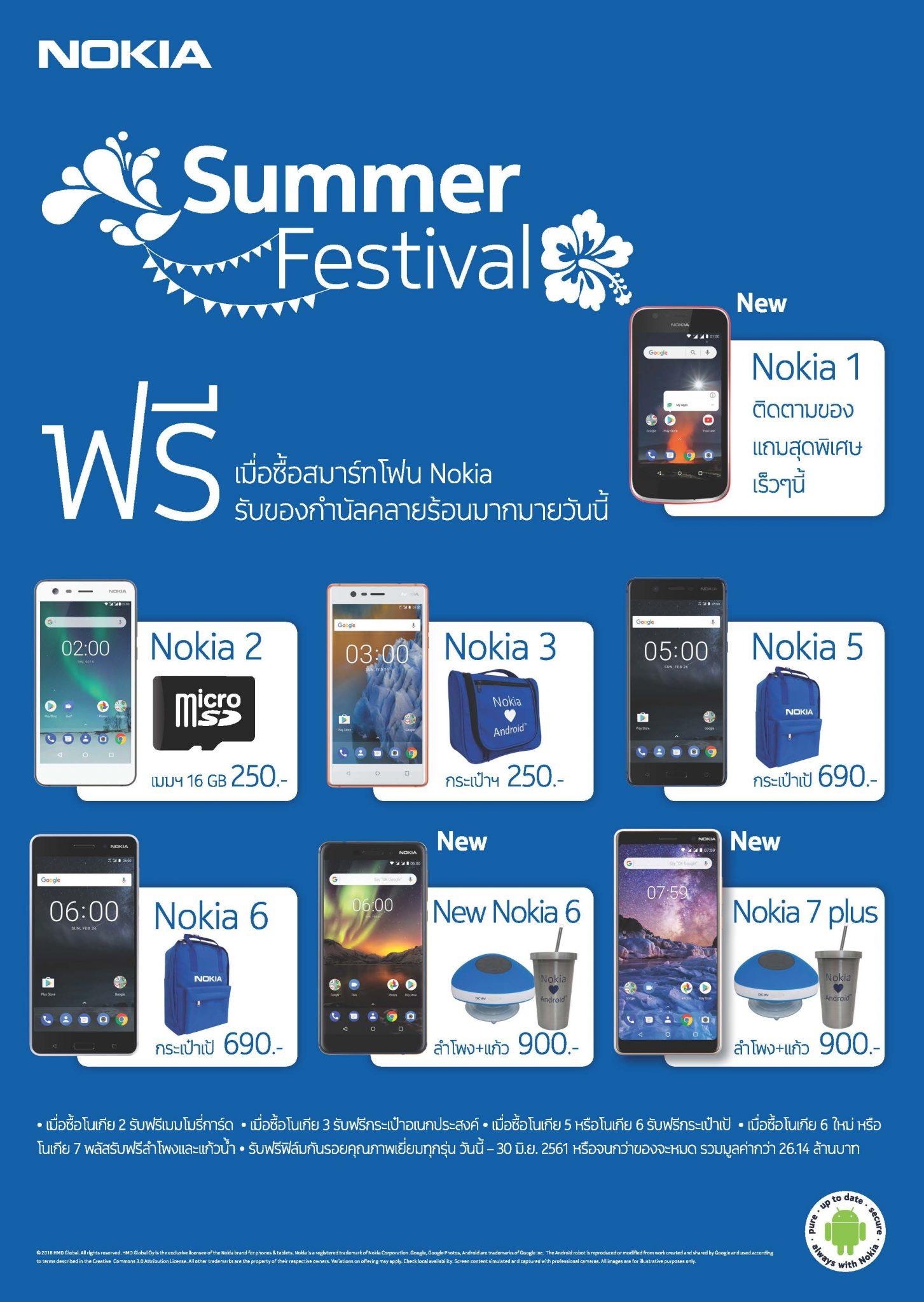 โนเกียสมาร์ทโฟนจัดโปรโมชั่นคลายร้อน Summer Festival รับของสมนาคุณมากมาย ตั้งแต่วันนี้ ถึง 30 มิถุนายน 2561